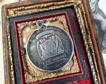 SALE:  Antique French Angels and Dove Communion Medal, A Rare Talisman for the Passionate, offered by RusticGypsyCreations