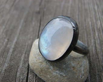 One of a Kind Moonstone Ring Size 8 Size Eight Ring Oxidized Sterling Silver Rainbow Moonstone Jewelry Blackened Silver Flashy Moonstone