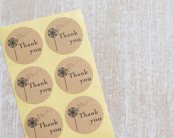 "24 ""Thank you"" adhesive labels/stickers"