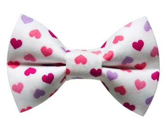 "Cat Bow Tie - ""The Modern Romance"" - Pink, Red, Purple Hearts"