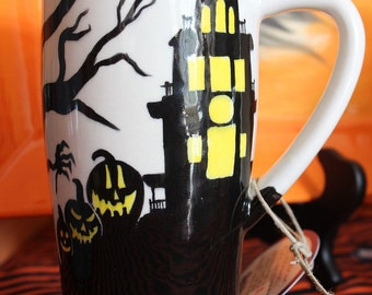 Haunted House Pumpkin and Scary Tree Travel Mug in Black, White and Yellow Hand-Painted