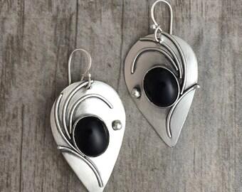 Black Onyx earrings, Teardrop earrings, sterling silver, handcrafted jewelry, Regina Marie Designs,