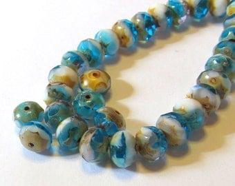 Teal blue rondelle beads, Turquoise 8 x 6mm Czech glass beads, Picasso beads, 12 Czech beads, Destash, Small quantities