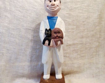 "Veterinarian Animal Doctor Hand Carved Figurine with Cat & Dog 12""H"