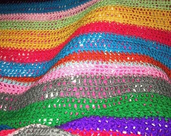 Rainbow/striped crochet blanket/afghan - king size other sizes available!