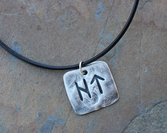 Square two rune leather necklace- Handmade Elder Futhark Rune- personalized runic symbols or initials - large rune - free shipping usa