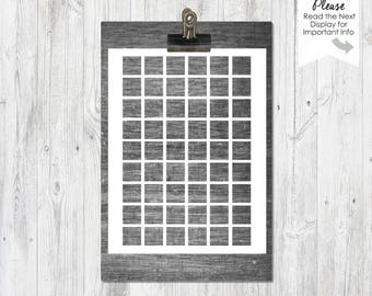 1 inch squares, Template, Transparent PNG file, Instant Download