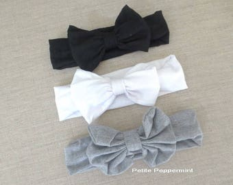Black White Gray Baby Headband, Baby Head band bow, toddler headband, baby headband cotton, messy bow headband,baby hair bow, baby head wrap