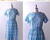 25% OFF 50's bright blue dress. full pleated skirt. diagonal plaid.1950 xl dress.