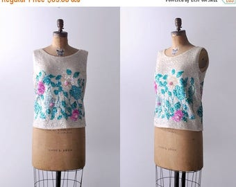 25% OFF 60 sequin top. large. 1960's floral blouse. sleeveless. colorful. cream top. l. xl.