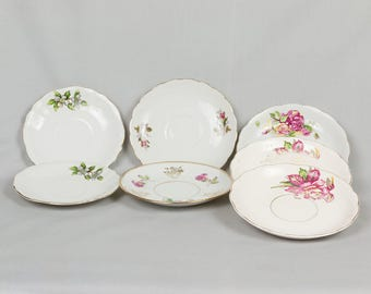 Seven saucers with flowers and leaves, Vintage, Miscellaneous saucers, Made in Japan, Violets, Roses, Gold edges, Gold leaf, China painting
