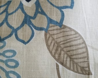 Curtain in a blend of linen and rayon blue flowers light brown leaves extra long drapery panel 113 inches long, extra long curtain