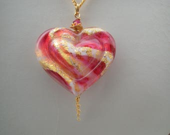 Venetian Murano Double Heart Necklace