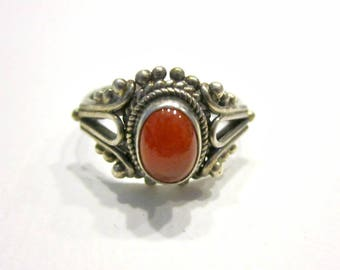 Vintage Carnelian Ring Sterling Silver 925 Size 6 1/2 Gift for Her Gift for Mom Genuine Gemstone Ring Under 25