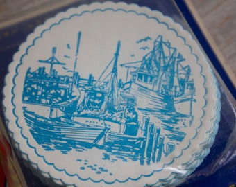 Vintage Nautical Coasters, Retro Disposable Paper Coaster, Little Brown Bag, Delft Blue, Ships in Harbor, Set of 50, New in Package