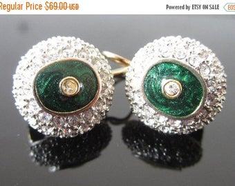 On Sale Sterling Silver Enamel Earrings / ultima edizione Italian Sterling