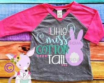 Little Miss Cottontail Kids Easter Shirt Girls Easter Shirt Easter Sunday Shirt Raglan Easter Bunny Picture Shirt Custom Easter