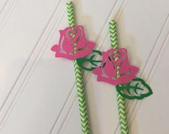 Sleeping Beauty Straws - Aurora Party Straws - Sleeping Beauty Party - Pink Party Straws - Flower Straws - - Aurora Birthday Party