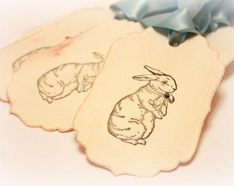Easter Tags (Double Layered) - Bunny Tags - Rabbit Tags - Vintage Rabbit Tags - Vintage Bunny Tags - Vintage Easter Tags  - Set of 8