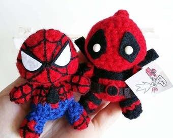 Spiderman and Deadpool Amigurumi