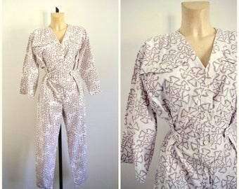 Vintage 80's Printed Cotton Jumpsuit Pierre Cardin / Medium Size