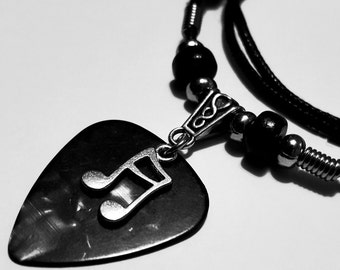 Guitar Pick Necklace - Music Necklace - Music Jewelry -  Music Note  - Music Note Necklace - Adjustable - Black Cotton Cord - 2mm