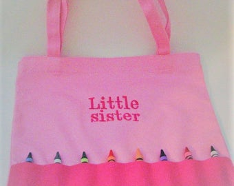 Little Sister Crayon Bag - Little Sister Crayola Tote - READY TO SHIP - Custom Crayon Bag - Pink Crayon Pouch
