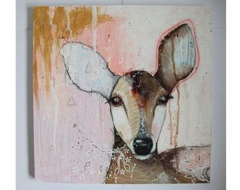 Original deer painting whimsical boho mixed media art on wood panel 16x16 inches - Like a fast flowing stream