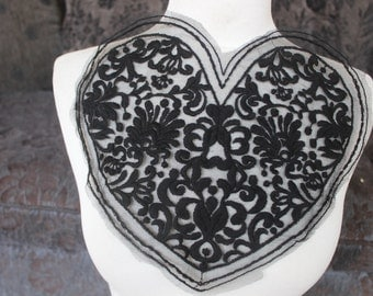 Cute embroidered heart applique black color