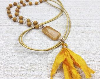 Tassel Necklace – Yellow Necklace – Long Tassel Necklace – Trendy Long Necklace – Boho Necklace – Yellow Summer Jewelry – Boho Jewelry
