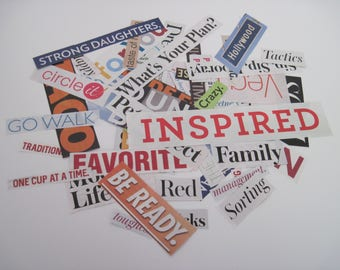 WORD, Phrases - MAGAZINE Clippings - Over 60 Pieces for Altered Art, Collage, Scrapbooking, Smash Books, Junk Journals