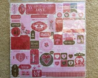 Authentique Smitten 12 x 12  Sticker Sheet