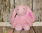 Monogrammed Easter Bunny -Pink Rabbit - Personalized Plush Rabbit