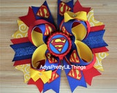 Superman Inspired Bow Super Hero Bottle Cap Bows Birthday Bows Stars Justice League Bow Girls Boutique Bow Baby Girls Hair Accessories