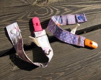 a pair of pacifier clips, baby shower gift, pacifier holder, unisex baby gifts, patchwork gift, baby pacifier clip, newborn gift, dummy clip