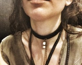 Snakebone and Tigers Eye Leather Choker
