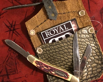 Upcycled Dragon Leather Pouch and PenKnife