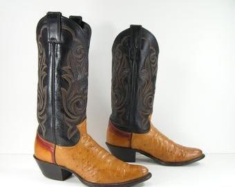 vintage cowboy boots women's 7 M B honey brown western genuine ostrich skin justin cowgirl