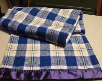 "Vintage Amana Wool Blanket Blue and Tan Plaid 78"" x 58"" with tag 1940s"