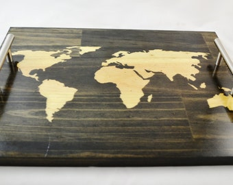 World Map Stained Wood Serving Tray, Coffee Tray, Tea Tray, Breakfast Tray
