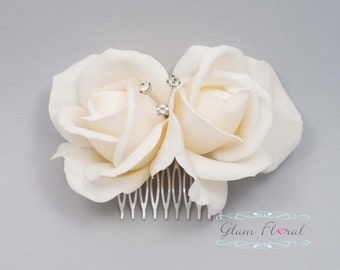Ivory Double Rose Hair Comb. Wedding Fascinator, Hair Piece, Head Piece, Real Touch Flowers. Rose Hair Clip. Prom. Caroline Rose Collection