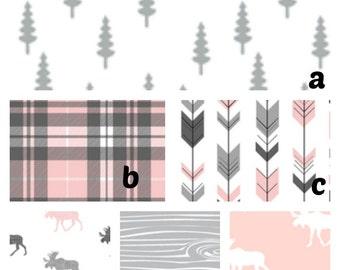 Crib Bedding Woodland Deer Crib Bedding Pink and gray plaid deer, bear. Customize : crib sheet, changing cover, skirt, bumper, blanket