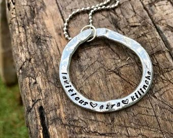 Mom's Circle of Love Handstamped Necklace
