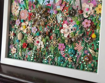 Wild Meadow Collage, Mixed Media Glitter, Upcycled Recycled Jewellery elements, acrylic paint Original Art, flowers, Framed by Sharon Perry