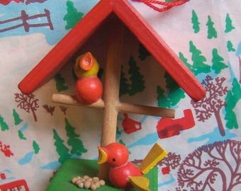 tiny wooden bird stand ornament