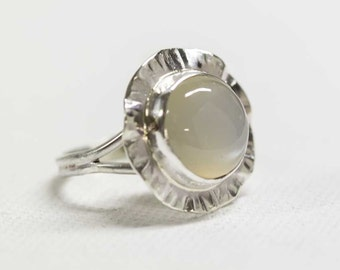 White Moonstone Flower Ring in Sterling Silver Handcrafted Any Size