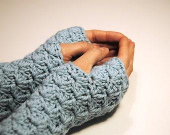 Pastel blue fingerless gloves, crocheted, handmade, ready to ship