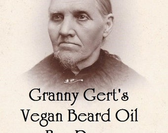 Granny Gert's Vegan Beard Oil made in small batches and sold in 2 oz. Spray bottles Vanilla, Sandalwood or Bay Rum scented