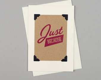 "Handmade Note Card ""Just Because"" in Vintage Style with Pink Typography"