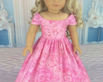 18 inch doll dress fits american girl size doll. Pink ball gown style.